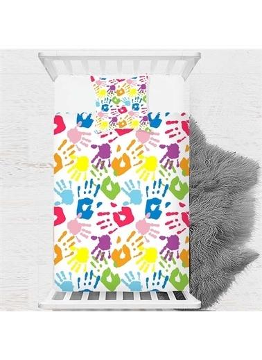 Else Halı Renkli Eller Tek Kişilik Desenli Çocuk Yatak Örtüsü Renkli